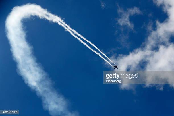 An M346 aircraft produced by Alenia Aermacchi SpA a unit of Finmeccanica SpA performs in an aerial flying display on the second day of the...