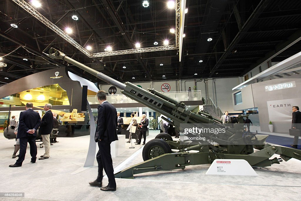 An M777 155mm lightweight field howitzer manufactured by BAE Systems Plc stands on display on the Emirates Defence Technologies pavilion at the...