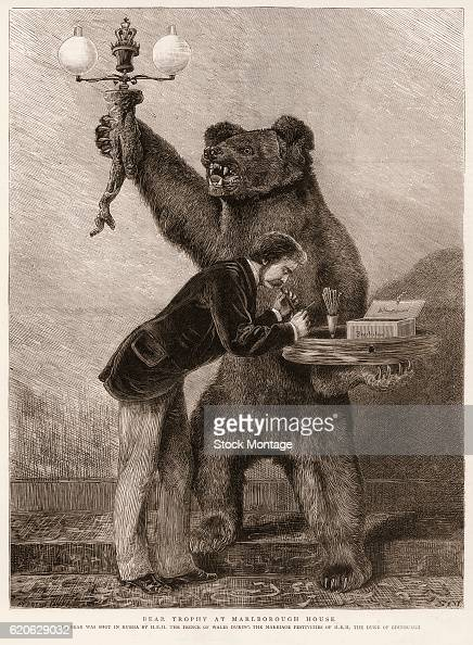 An man bends over to light a cigar from a platter held by a taxidermied bear at Marlborough House London England circa 1875 The caption states 'This...