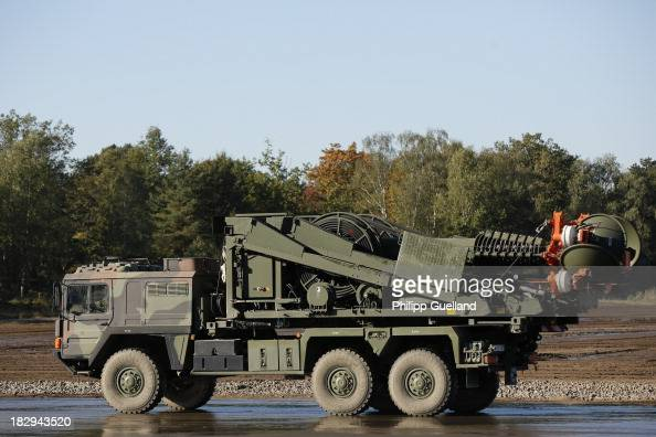 An MAN Truck with radio equipment is seen during the annual military exercises held for the media at the Bergen military training grounds on October...