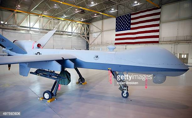 An MQ9 Reaper remotely piloted aircraft is parked in a hanger at Creech Air Force Base on November 17 2015 in Indian Springs Nevada The Pentagon has...