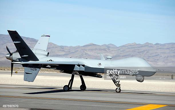 An MQ9 Reaper remotely piloted aircraft taxis during a training mission at Creech Air Force Base on November 17 2015 in Indian Springs Nevada The...