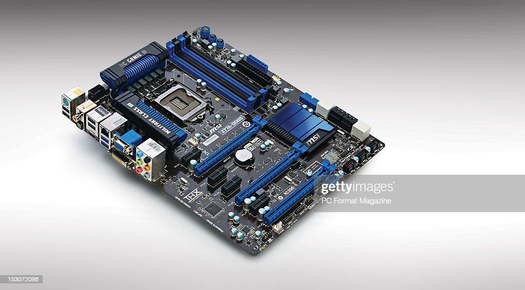 An MSI Z77A-GD65 motherboard, taken on February 21, 2012.