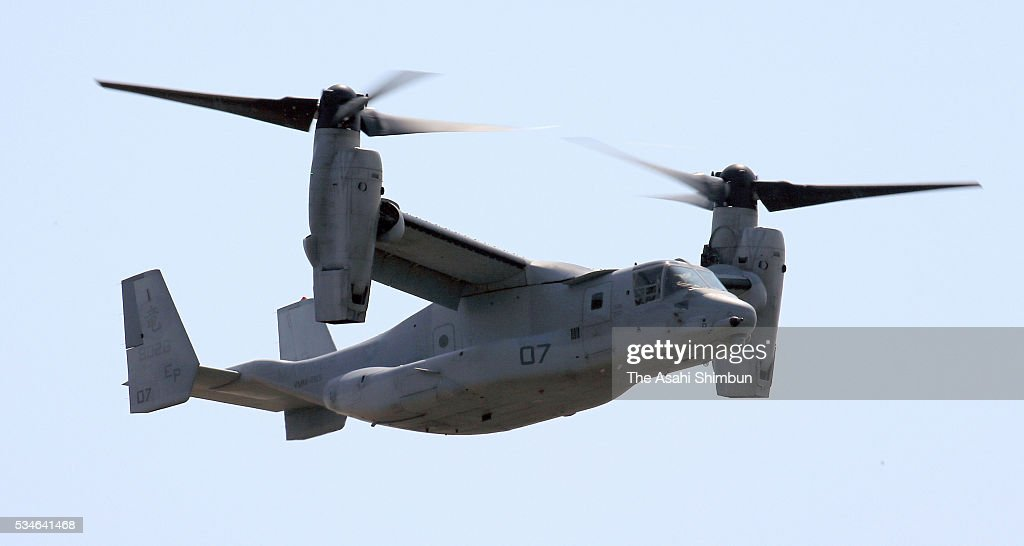 An MV-22 Ospray aircraft flies to follow the Marine One, presidential helicopter carrying U.S. President Barack Obama leaving after the G7 Summit on the way to Hiroshima on May 27, 2016 in Shima, Mie, Japan. Obama becomes the first sitting U.S. president to visit Hiroshima, where the first atomic bomb was dropped in 1945 at the end of World War II.
