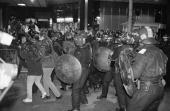 An N30 march against the privatisation of the railways and the WTO outside Euston Station in London 30th November 1999