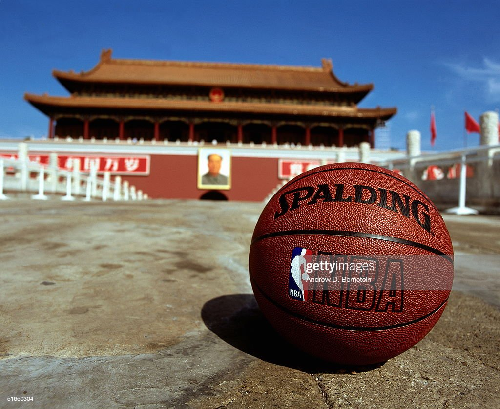 An NBA basketball lays on the ground in Tiananmen Square in conjunction with the NBA China Games between the Houston Rockets and the Sacramento Kings in Beijing, China on October 15, 2004.