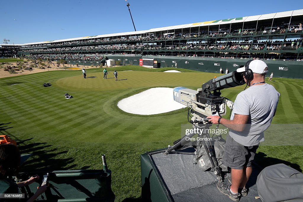An NBC camera captures the action on the 16th hole during the third round of the Waste Management Phoenix Open, at TPC Scottsdale on February 6, 2016 in Scottsdale, Arizona.