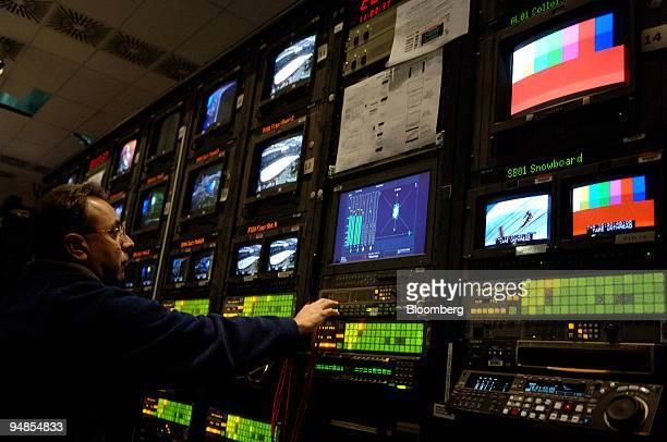 An NBC employee works in a control room in the network's temporary studio at the 2006 Winter Olympics in Turin Italy Sunday February 12 2006