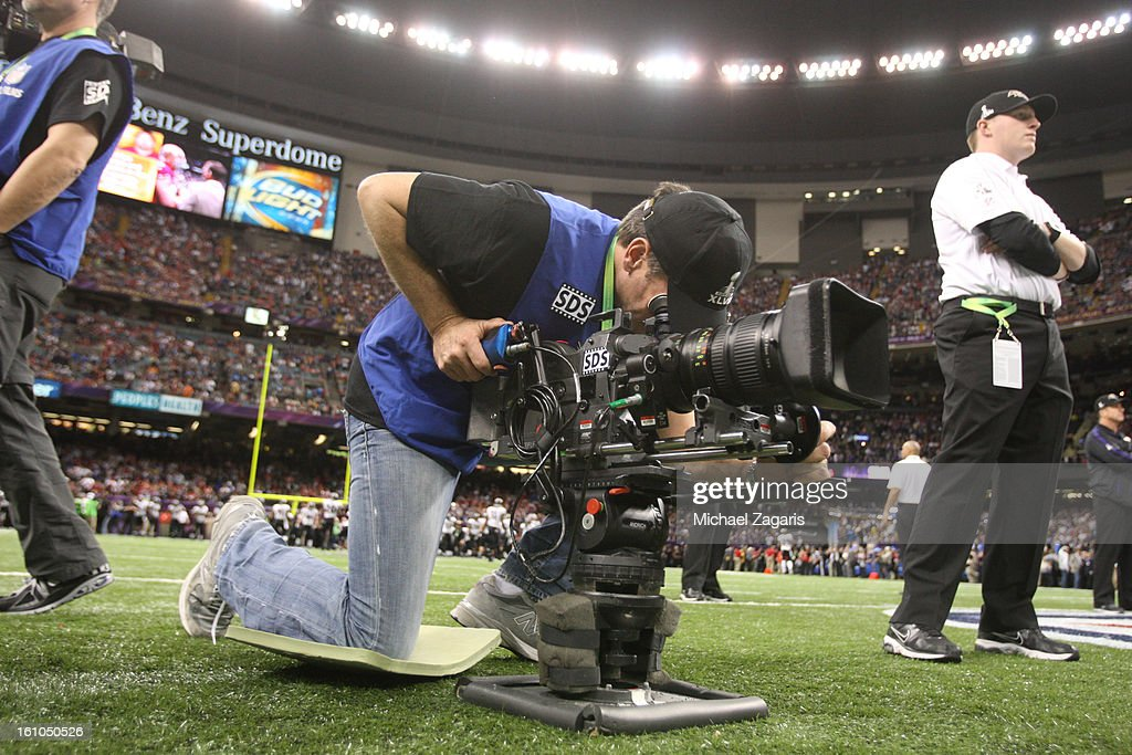 An NFL cameraman gets footage for he league prior Super Bowl XLVII between the San Francoscio 49ers and the Baltimore Ravens at the Mercedes-Benz Superdome on February 3, 2013 in New Orleans, Louisiana. The Ravens won 34-31.