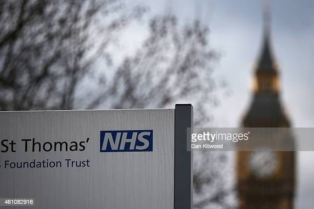 An NHS sign outside St Thomas' Hospital opposite the Houses of Parliament on January 6 2015 in London United Kingdom Figures released suggest that...