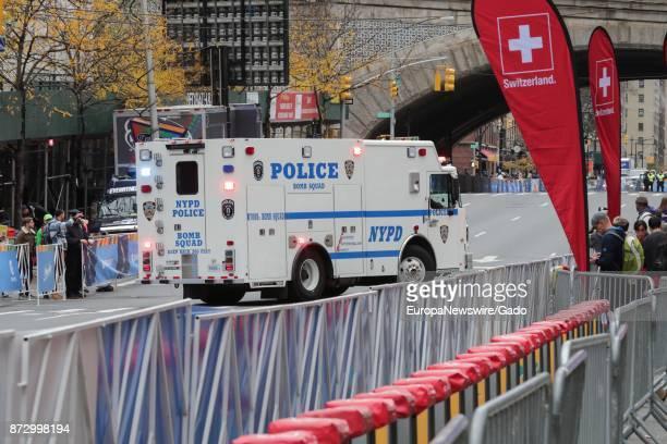 An NYPD Bomb Squad truck patrols during the New York Marathon in Manhattan New York City New York November 5 2017