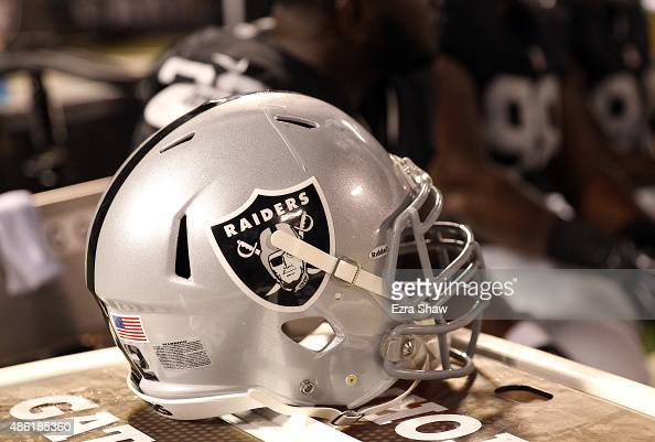 An Oakland Raiders helmet during their game against the St Louis Rams at Oco Coliseum on August 14 2015 in Oakland California