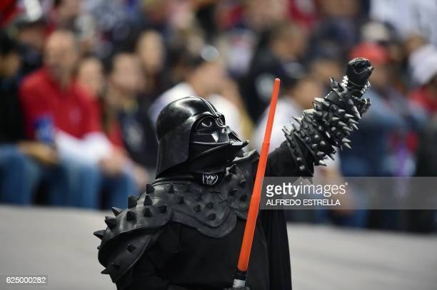 An Oakland Riders fan fancy dressed as Darth Vader during their 2016 NFL week 11 regular season football game against Texans on November 21 2016 at...