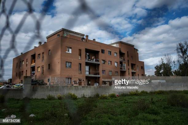 An occupied building pictured on October 4 2017 in Rome Italy For the last 5 years hundreds of people including Italians Roma and refugees including...