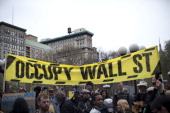 An Occupy Wall Street banner is seen in Union Square at the end of a march from Zuccotti Park to Union Square on March 24 2012 in New York City The...