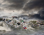 An Ocean Wave Filled With Garbage