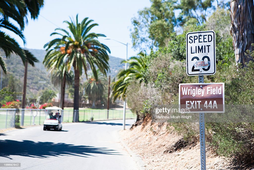 An odd sign for Wrigley Field on Catalina Island : Stock Photo
