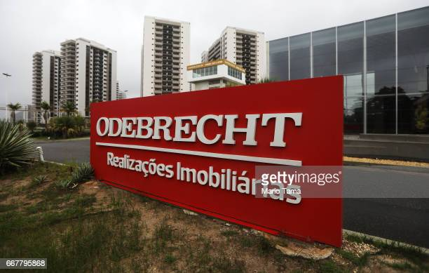 An Odebrecht sign is displayed in front of the now abandoned Rio 2016 Olympic Games athletes village on April 12 2017 in Rio de Janeiro Brazil A plea...
