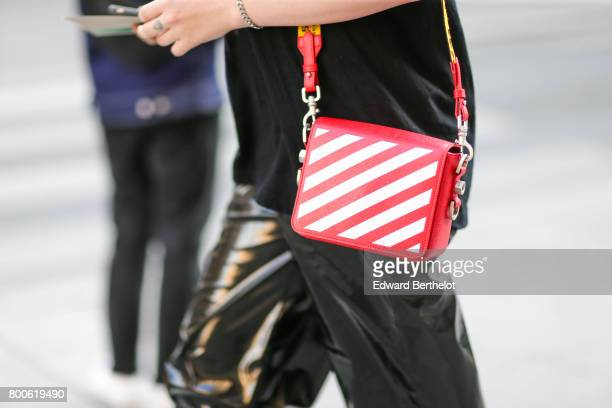 An Off White red bag is seen outside the Hermes show during Paris Fashion Week Menswear Spring/Summer 2018 on June 24 2017 in Paris France