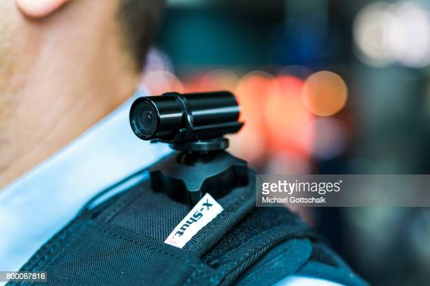An Officer of German Bundespolizei or Federal Police with a BodyCam on his shoulder at Berlin Central Train Station on June 23 2017 in Berlin Germany
