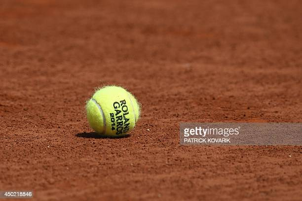 An official ball of the French tennis Open is pictured on the court before the start of the French tennis Open women final match at the Roland Garros...