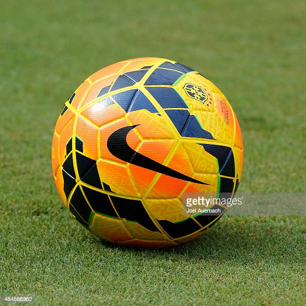 An official Brazil Nike team ball on the pitch during the training session prior to a friendly match against Columbia at Sun Life Stadium on...