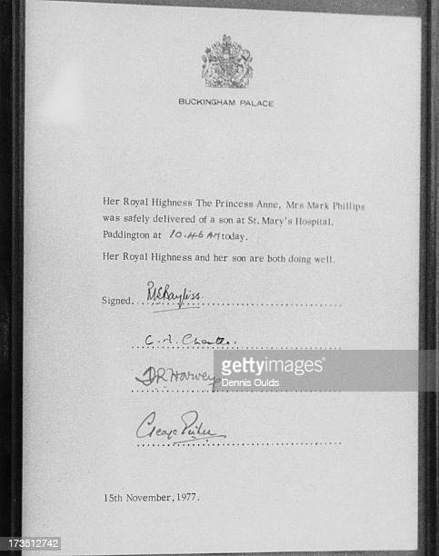 An official bulletin outside Buckingham Palace announcing the birth of Peter Phillips to Princess Anne and Mark Phillips London 15th November 1977