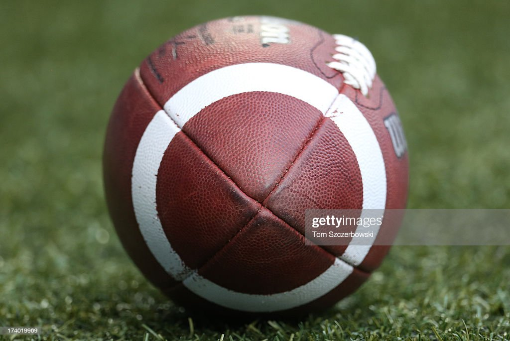 An official Canadian CFL league ball before the Toronto Argonauts CFL game against the Saskatchewan Roughriders on July 11, 2013 at Rogers Centre in Toronto, Ontario, Canada.