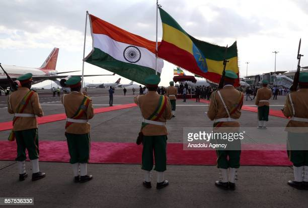 An official ceremony held due to President of India Ram Nath Kovind and his wife Savita Kovind's arrival at Addis Ababa Bole International Airport in...