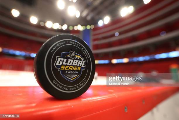 An Official game puck sits on the boards during practice at the Ericsson Globe on November 9 2017 in Stockholm Sweden