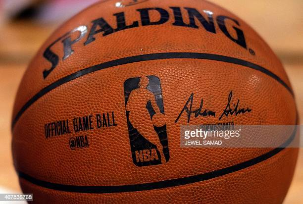 An official NBA game ball is pictured during a game between the New York Knicks and the Los Angeles Clippers at the Madison Square Garden in New York...