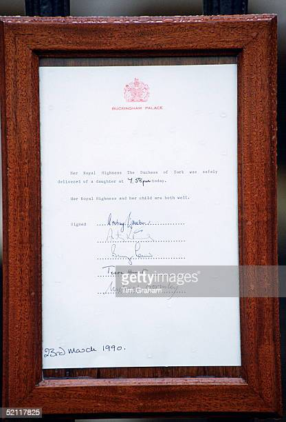 An Official Notice Placed On The Gates Of Buckingham Palace Announcing The Birth Of Princess Beatrice