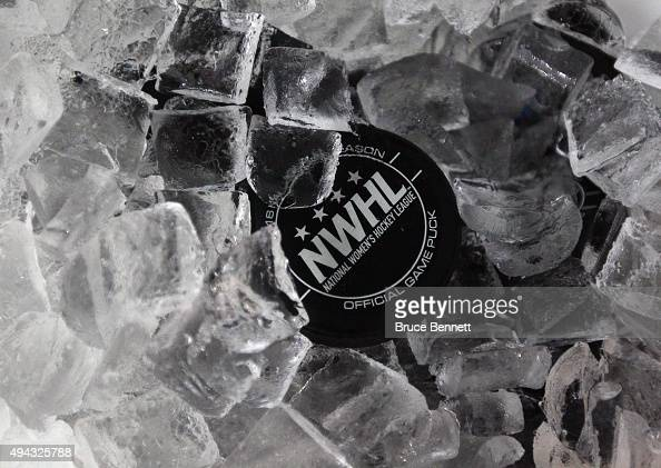 An official NWHL puck sits in an ice bucket prior to the game between the New York Riveters and the Connecticut Whale of the National Womens Hockey...