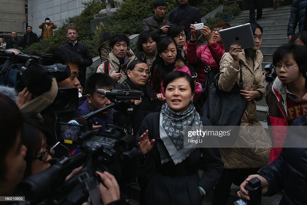 An official (Center) of Guiyang Intermediate People's Court leads the media to attend a press conference on former Chinese leader Bo Xilai's case on January 28, 2013 in Guiyang, China. 'It is fake information. The trial of Bo Xilai will not open in Guiyang today', Vice-president of Guiyang Intermediate People's Court Jiang Hao said. The trial of Bo Xilai is expected to open after the 'two sessions' in March, China's official newspaper Global Times reports on Monday.