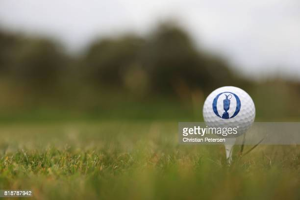 An official Open logo golf ball on a tee during a practice round prior to the 146th Open Championship at Royal Birkdale on July 19 2017 in Southport...