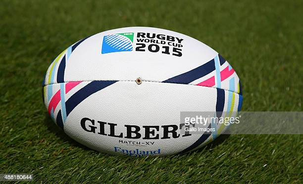 An official Rugby World Cup ball is seen during the 2015 Rugby Wolrd Cup Springboks training session at Eastbourne College on September 14 2015 in...