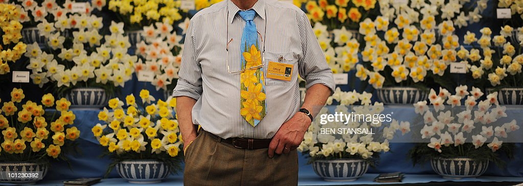 An official wearing a floral tie is seen infront of a daffodil display at Chelsea Flower Show in London, on May 24, 2010. Garden designers have had to cope with unseasonal frosts up to a week before the event and possibly the warmest day of the year Monday.