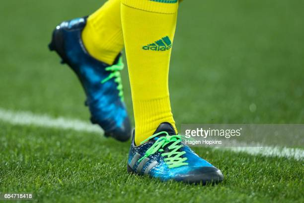 An official wears coloured shoe laces as a representation that rugby is a game for all New Zealanders during the round four Super Rugby match between...