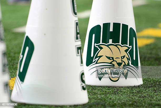 An Ohio Bobcats logo is displayed on a megaphone during the MAC Championship game between the Ohio Bobcats and the Western Michigan Broncos on...
