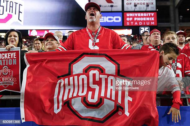 An Ohio State Buckeyes fan cheers during the Playstation Fiesta Bowl college football game between the Ohio State Buckeyes and the Clemson Tigers on...