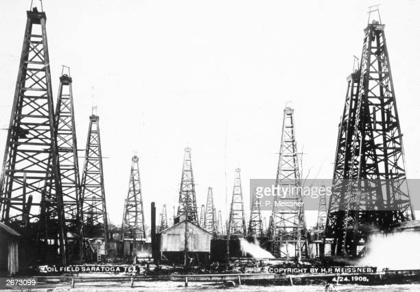 An oil field at Saratoga Texas