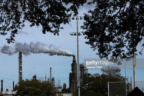 An oil refinery is shown on March 25 2015 in Houston Texas Texas which in just the last five years has tripled its oil production and delivered...