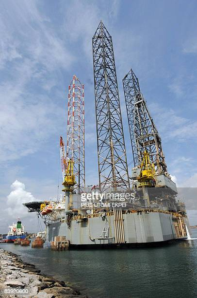 An oil rig for oil exploration is pictured at the Port of Takoradi on December 4 2008 The port of Takoradi and its twin city Sekondi midway between...