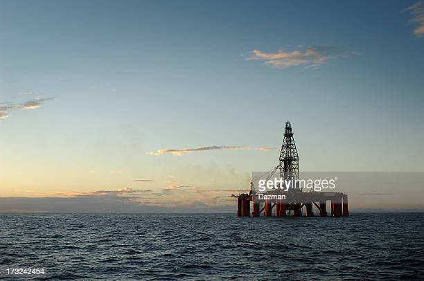 An oil rig in the ocean