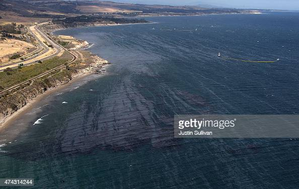 An oil slick is visible on the surface of the Pacific Ocean near Refufio State Beach on May 21 2015 in Goleta California California Gov Jerry Brown...