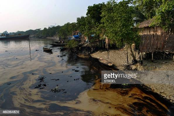 An oil spill from a Bangladeshi oiltanker is seen on the Shela River in Mongla on December 12 2014 Bangladeshi fishermen using sponges and sacks...