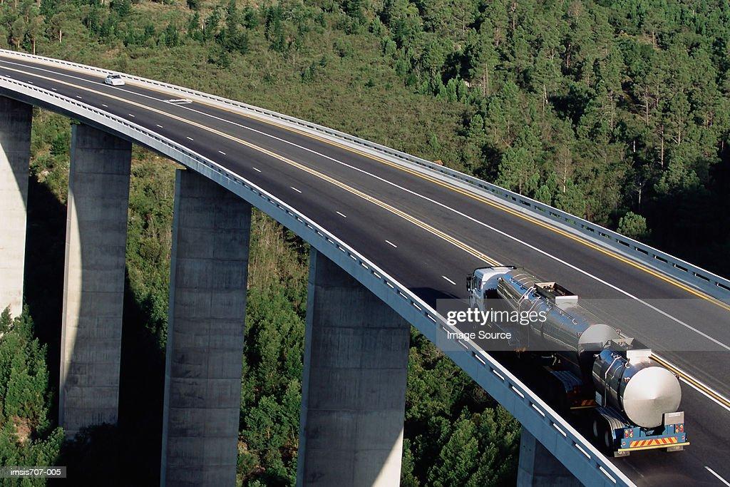 An oil tanker on a motorway