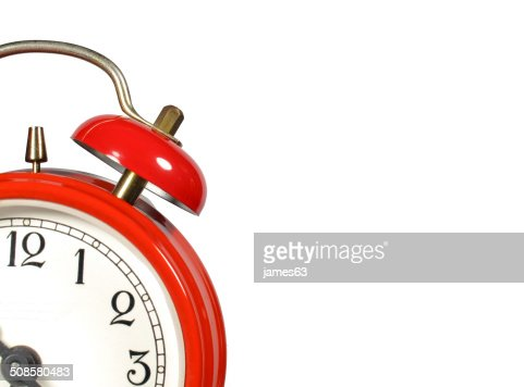 an old alarm clock old red : Stock Photo