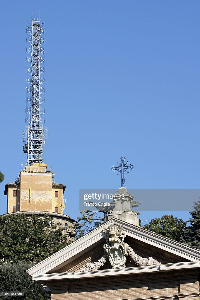 An old antenna of Vatican Radio inside the Vatican Gardens on February 19, 2013 in Vatican City, Vatican. When Pope Benedict XVI steps down on February 28, 2013 after almost eight years serving as the 265th Pope, it is reported that he will live in the Vatican Gardens.