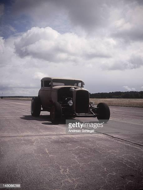 An old car on a race track